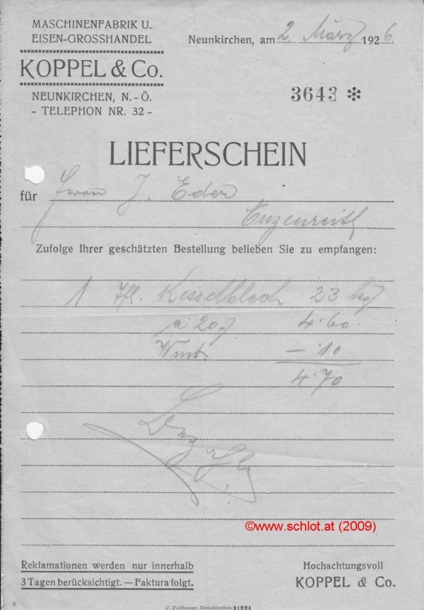 Lieferschein Koppel&Co, 26.03.1926