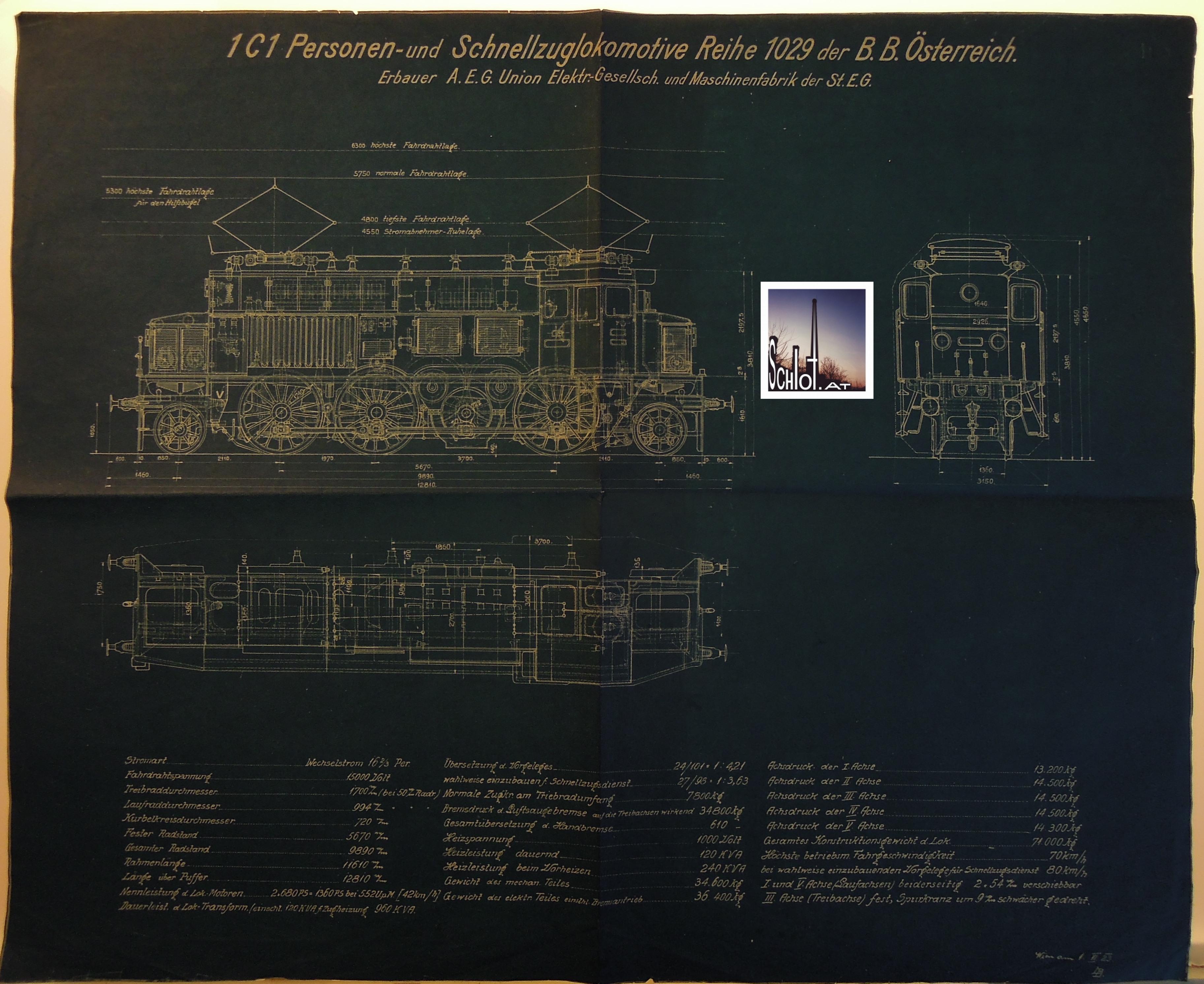 01.06.1923: 1C1 - Personen- und Schnellzugslokomotive BBÖ 1029 - später ÖBB 1073.