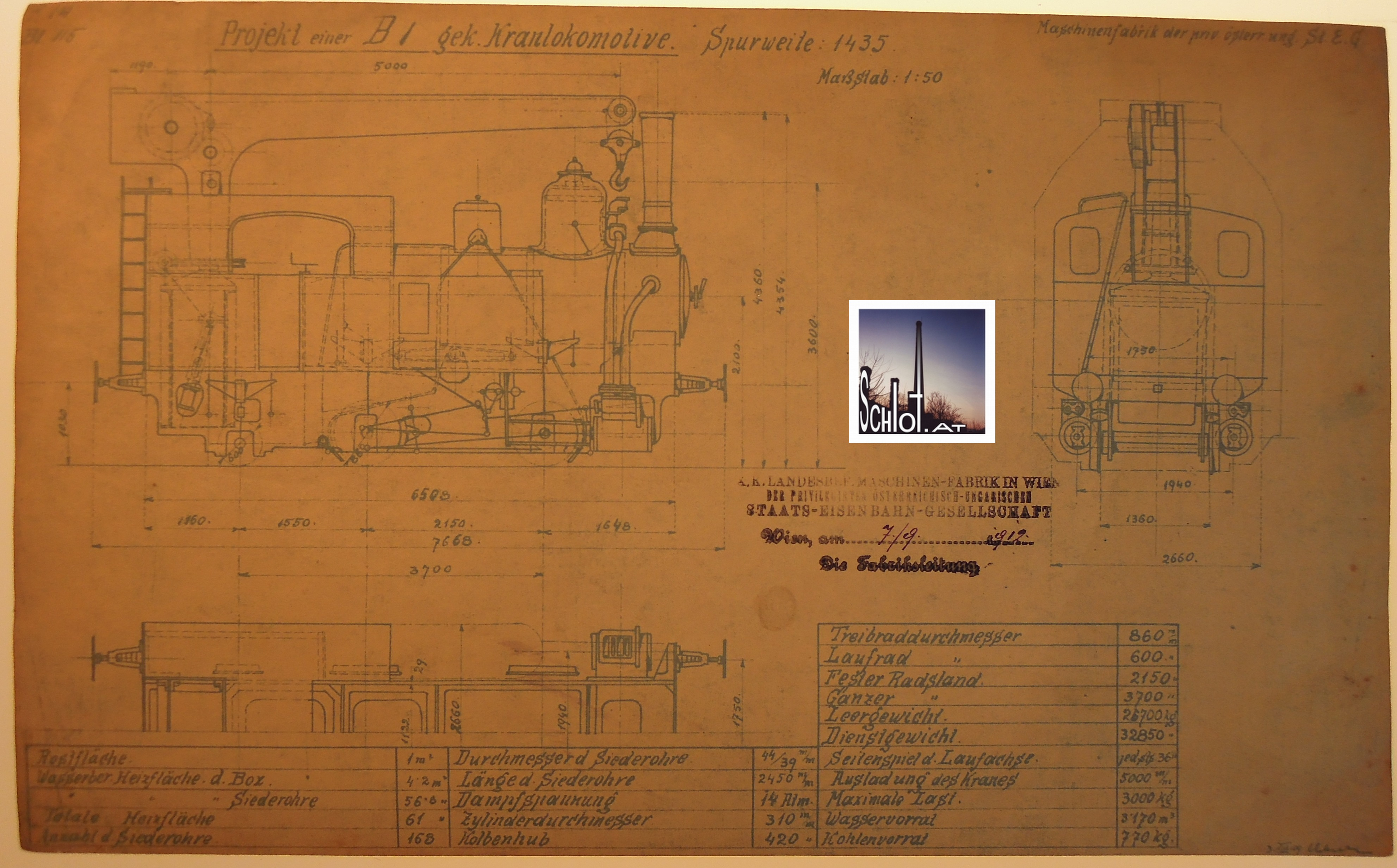 07.09.1912: Projekt einer B1 - gek. Kranlokomotive Spurweite 1435 mm