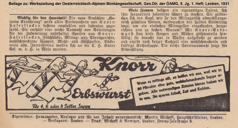 Erbswurst-Annonce, 1931