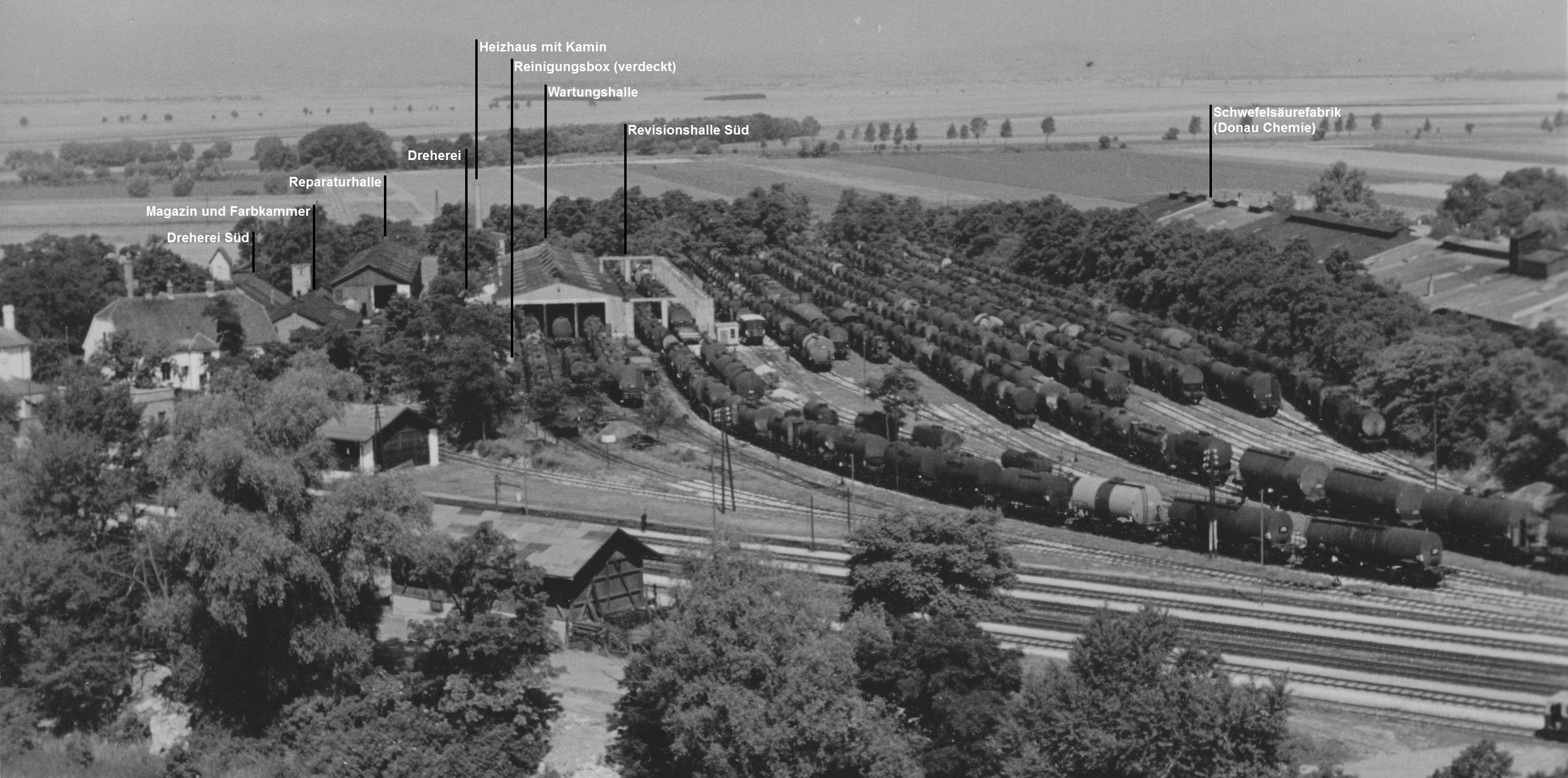 Foto des Altstandortes um 1950 (USIA-Verwaltung) mit Erläuterungen aus [1]. Quelle: [3]
