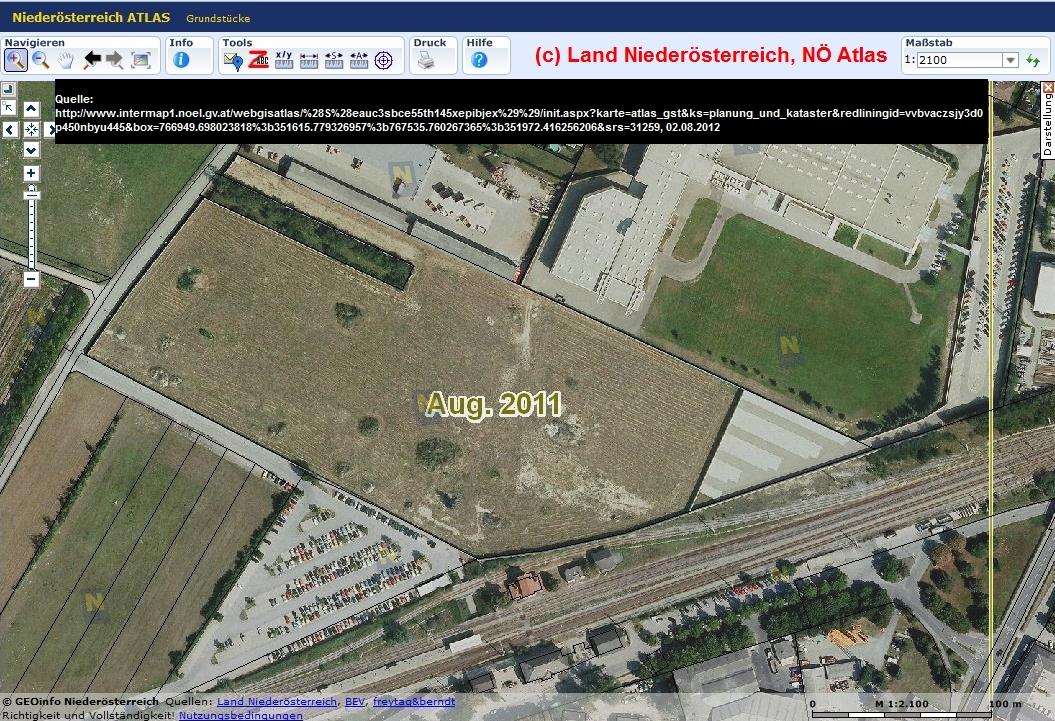 Ehem. Waggonreparaturanstalt Deusch Wagram. Quelle: [9], (c) Land Niederösterreich, NÖ Atlas