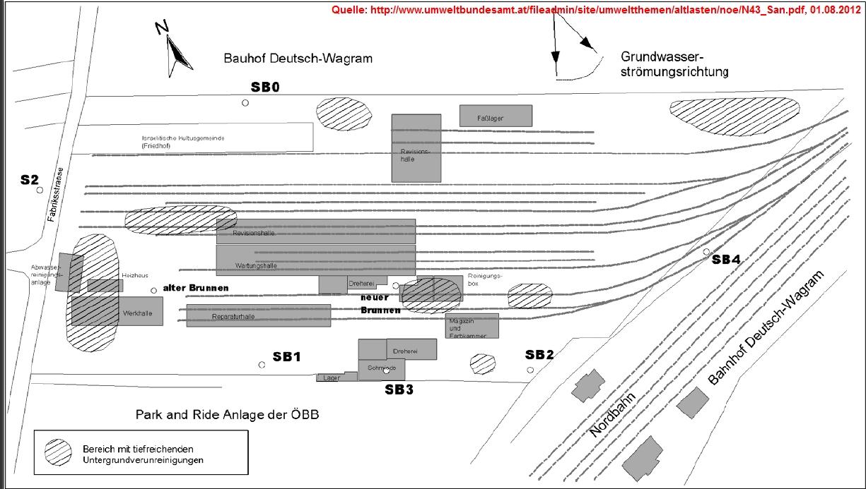 Ehemalige Betriebsanlagen der Waggonreparaturwerkstätte Deutsch Wagram. Quelle: [1], Umweltbundesamt GmbH (2008)
